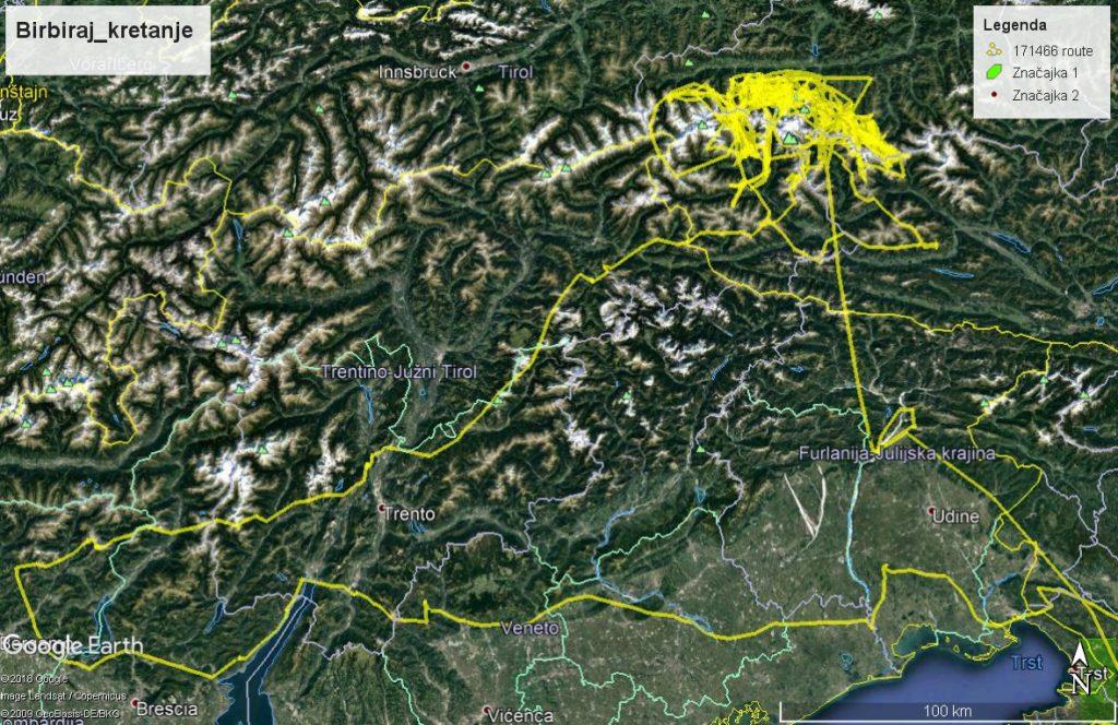 """GPS trag četveromjesečnog boravka supa """"Birbiraja"""" u Alpama i njegov """"zaobilazni"""" povratak na Kvarner"""
