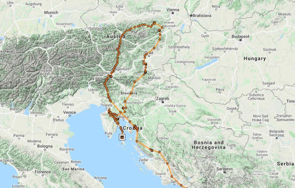GPS trag Kutelke i dolazak na Cres. (Foto: Fund For Wild Flora and Fauna)